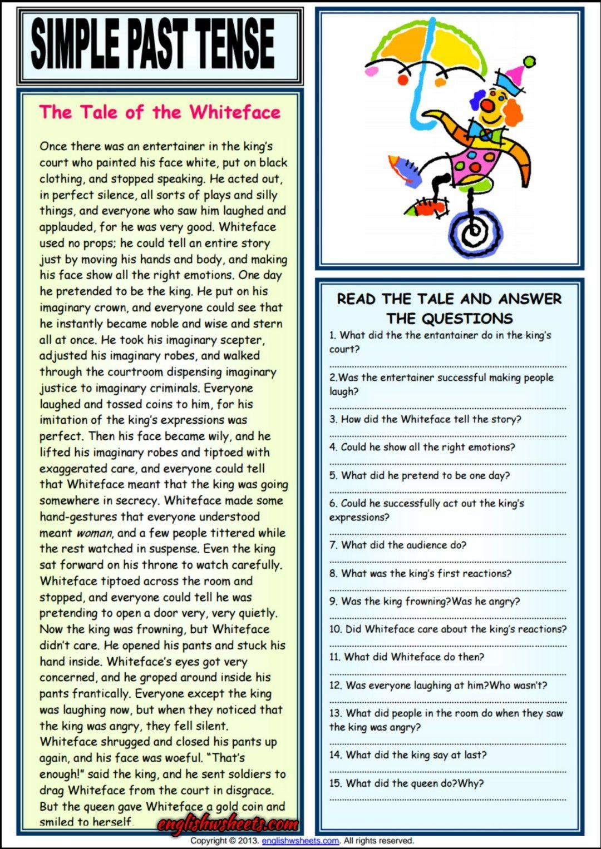 The Tale Of Whiteface Comprehension Esl Worksheet
