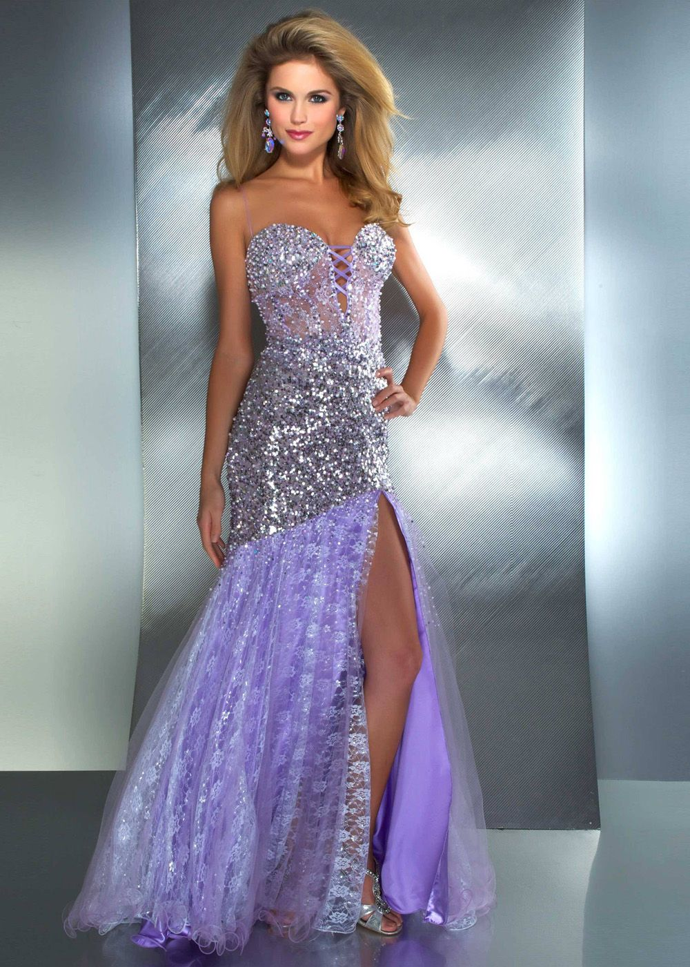 Mac Duggal 2682M - Stunning Lilac Sequin Prom Dress - Evening Gown ...