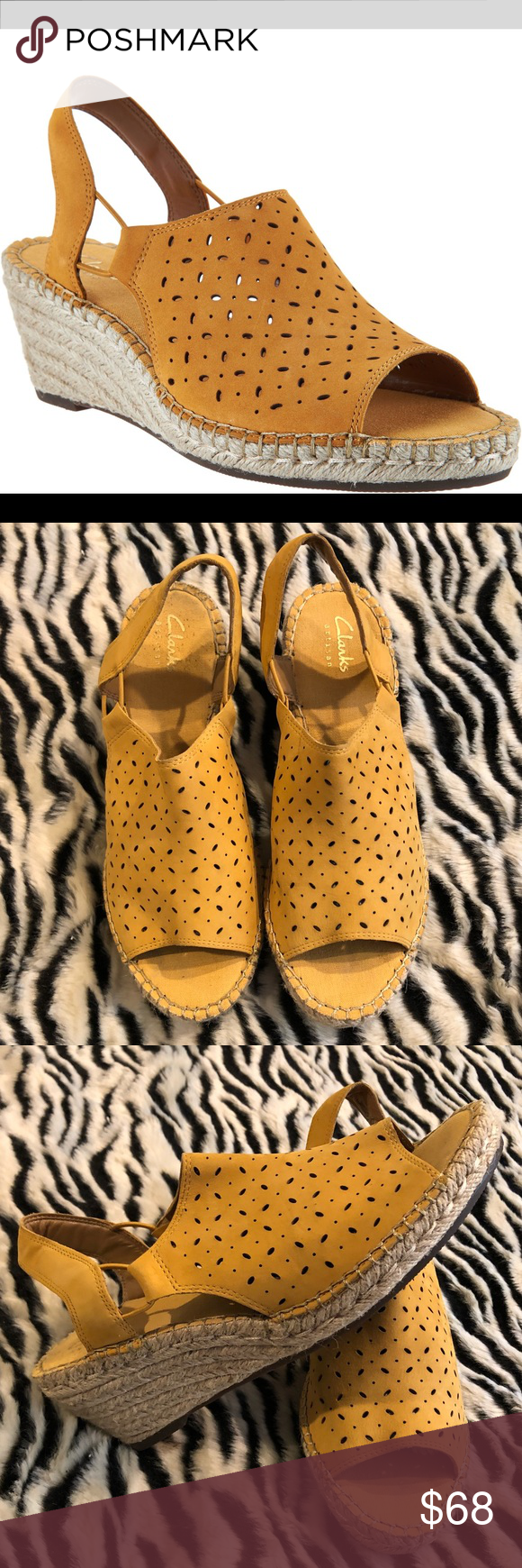 14f15e2a4f053 Clarks Leather Espadrille Wedges Petrina Gail Clarks Artisan Leather Espadrille  Wedge Sandals - Petrina Gail.
