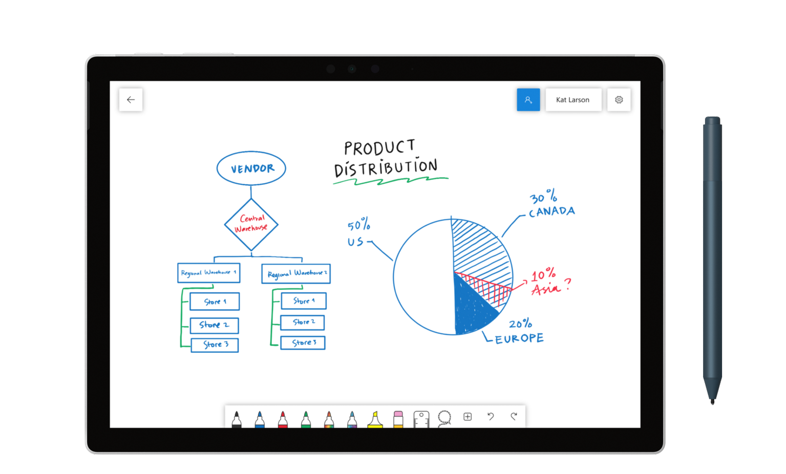 Microsofts collaborative Whiteboard app is now available