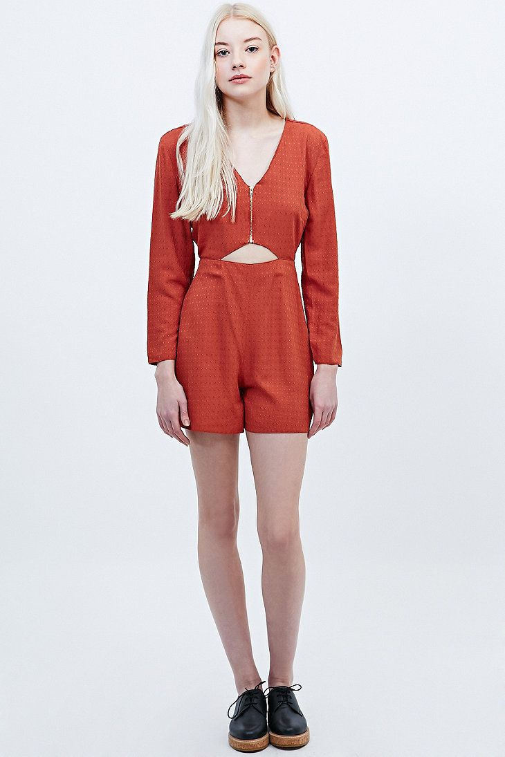 06c7b389421 Cooperative by Urban Outfitters Cut-Out Front Playsuit in Rust - Urban  Outfitters