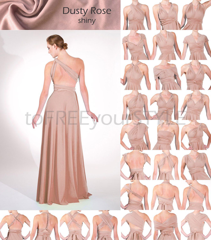 Long infinity dress in DUSTY ROSE shiny, FULL Free-Style Dress, long ...