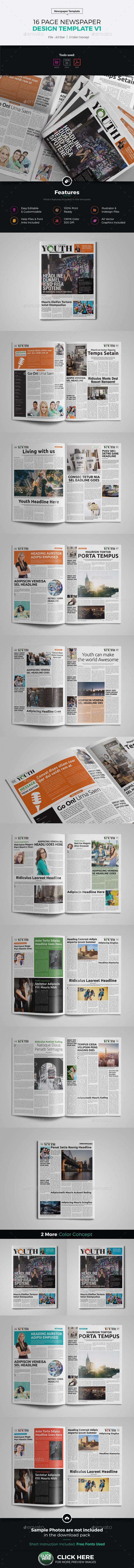 16 Page Newspaper InDesign v1