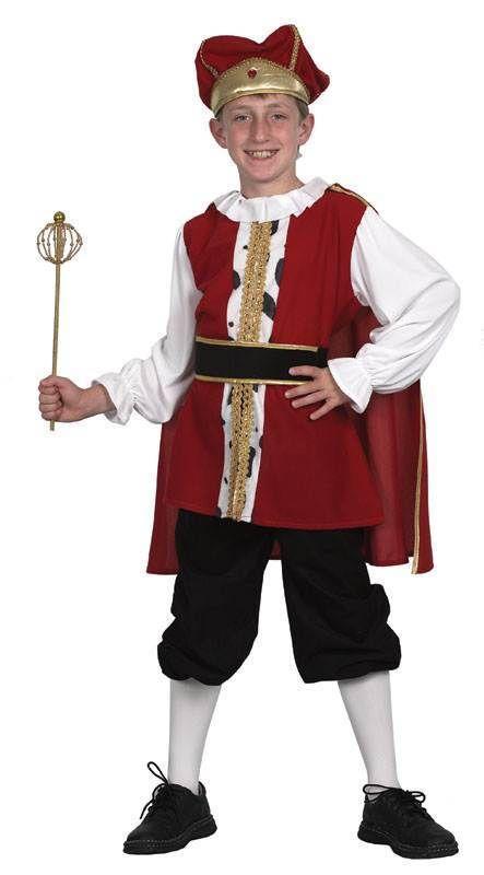Boys Tudor Costume Medieval Prince Renaissance King Book Week Kids Fancy Dress
