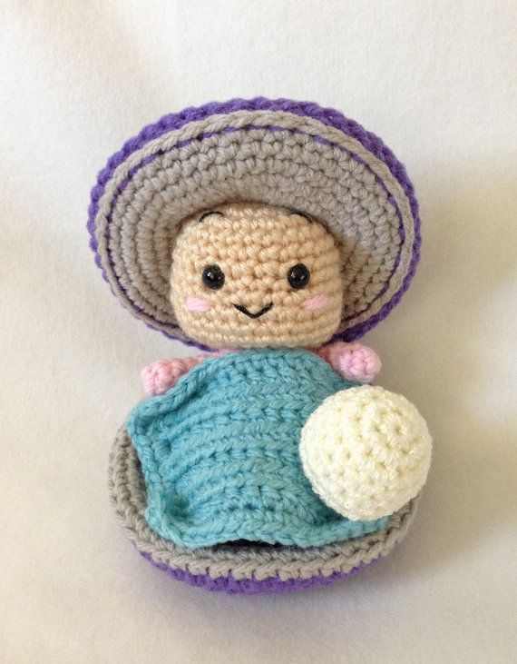 Amigurumi Crochet Pattern Baby Oyster, Disney Oyster, Sea Creature ...