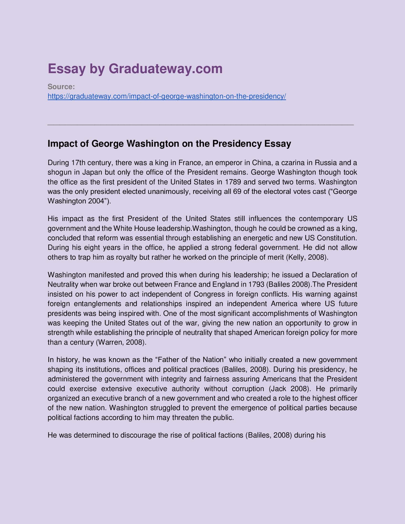 George Washington Essay Sample In 2020 Essay Essay Examples
