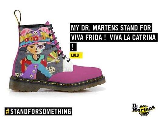 VIVA FRIDA Doc MARTENS boots ! FRIDA KAHLO La Catrina Day of the Dead Dia de