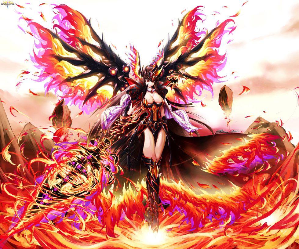 Brave Frontier Fanart Phoenix Wings Goddess Lava By Bunny15539