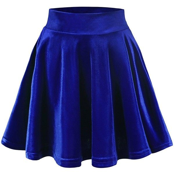 Urban CoCo Women's Vintage Velvet Stretchy Mini Flared Skater Skirt ($9.86) ❤ liked on Polyvore featuring skirts, mini skirts, vintage mini skirt, flared skater skirt, flare skirt, vintage skirts and blue skirt