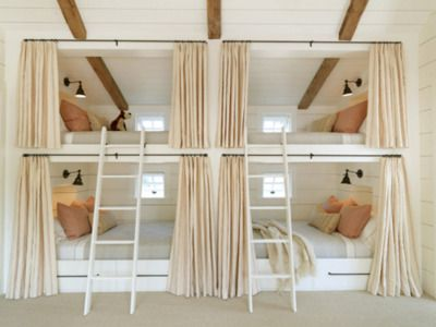 Blush hues, custom made bunk beds with privacy