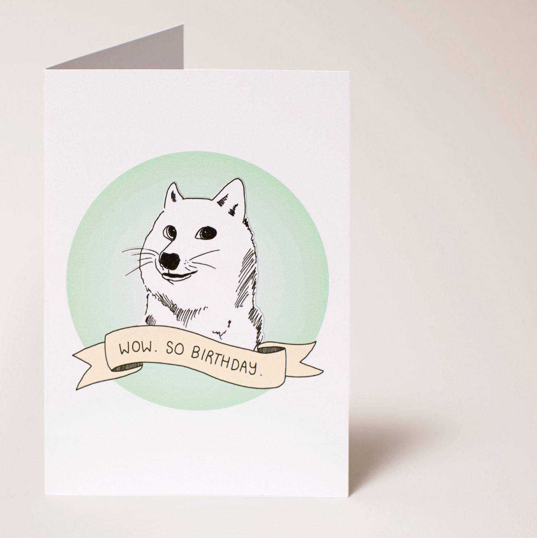 """Wow. So Birthday"" Doge Birthday Card! Hand Drawn Design"
