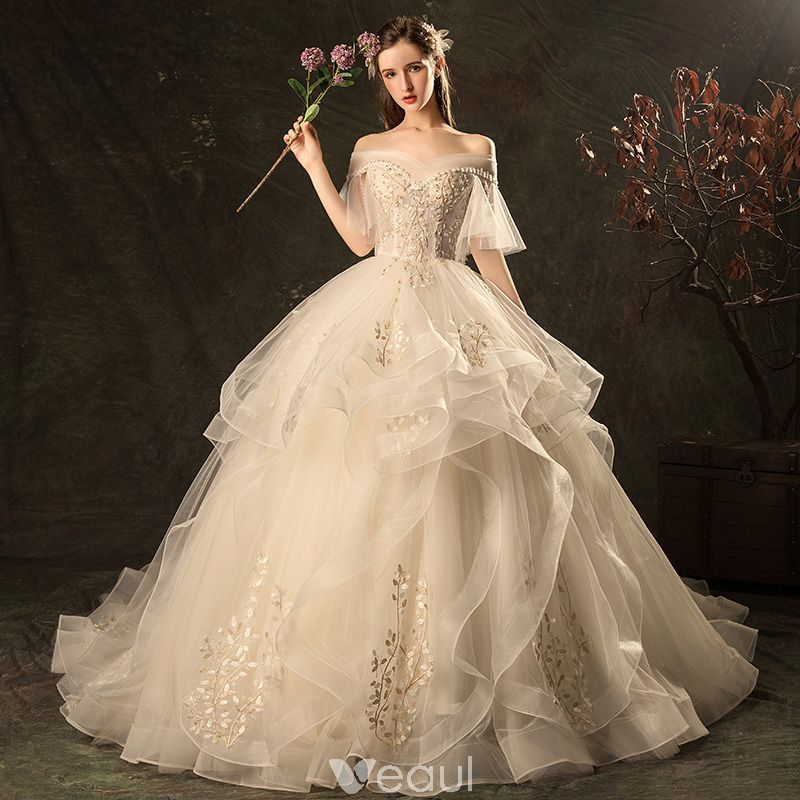 Champagne Wedding Gowns With Sleeves: Affordable Champagne Wedding Dresses 2019 Ball Gown Off