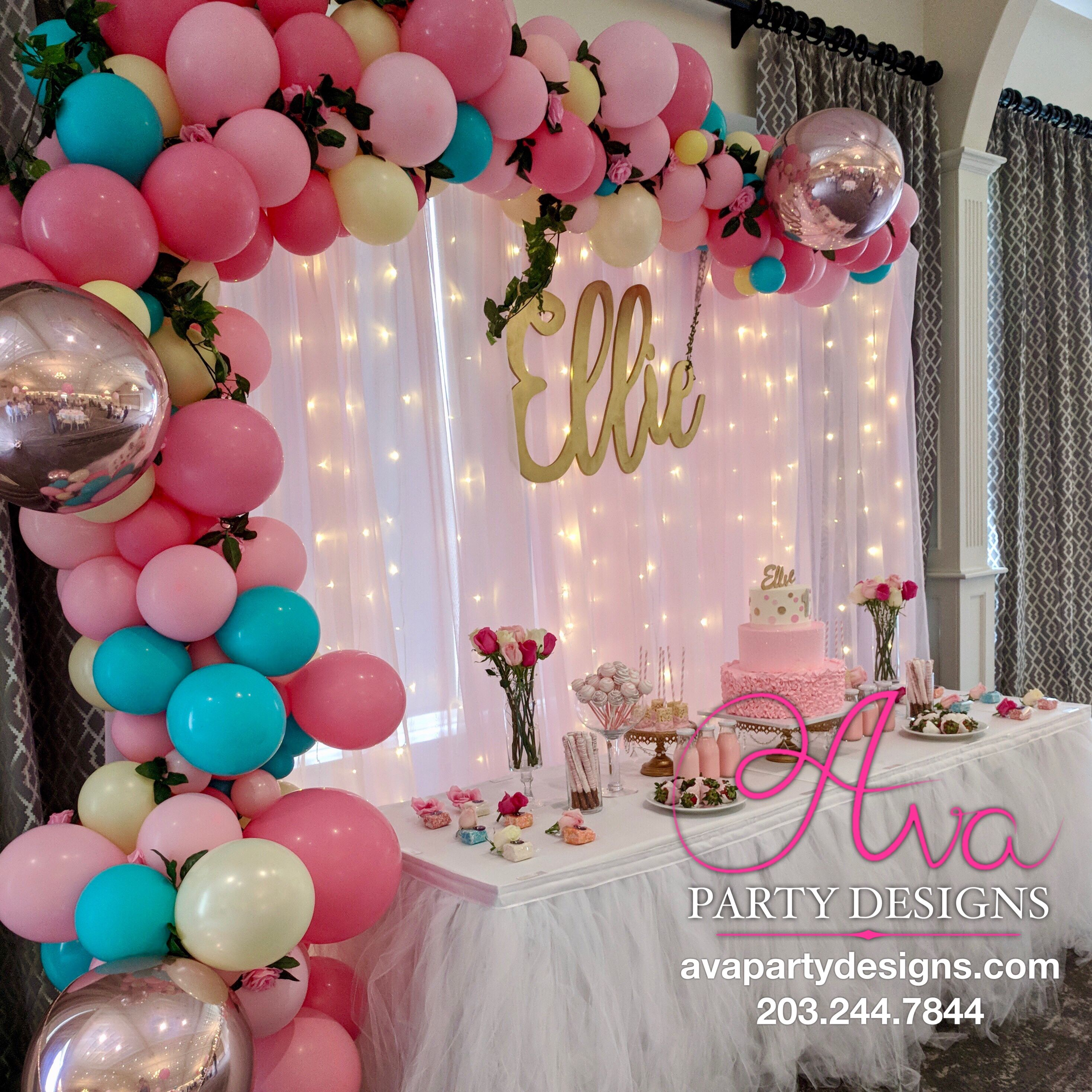 Organic Balloon Garland Arch With LED Fabric Backdrop