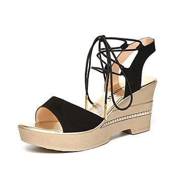 Mujer Zapatos PU Verano Confort Zapatillas y flip-flops Tacón Cuña Negro / Café / Rojo X7kZEXxqj