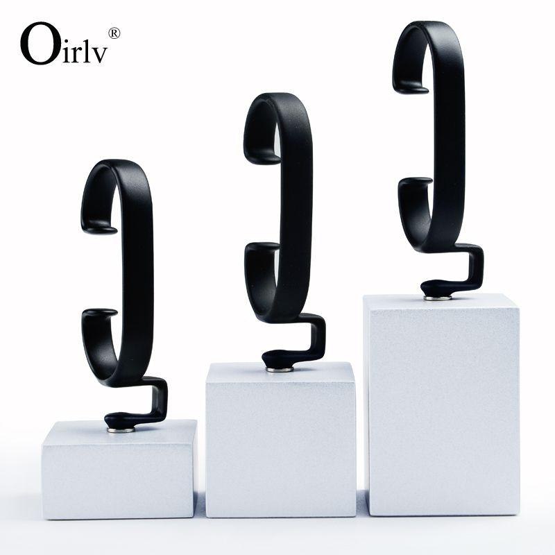 Oirlv free shipping C shape soild wood jewelry display stand watch