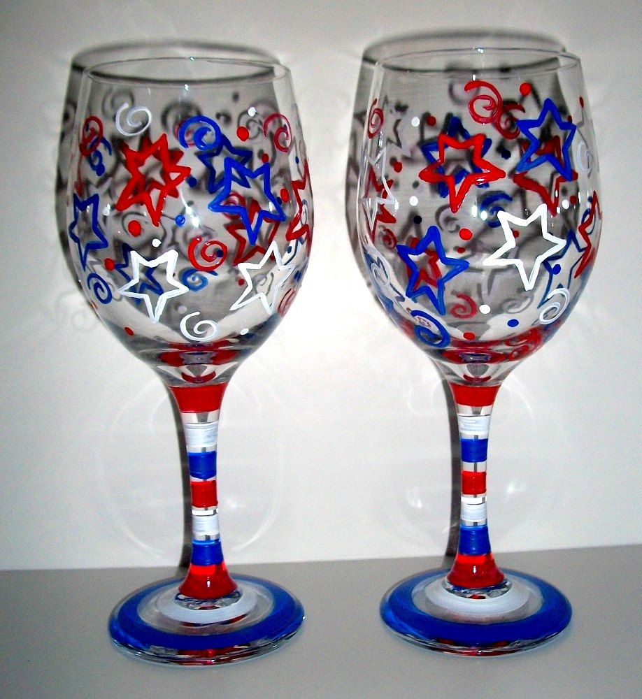 Painted Wine Glasses Happy Forth Of July Patriotic Red White And Blue Stars Stripe Independenc Hand Painted Wine Glasses Painted Wine Glasses Wine Glass Crafts