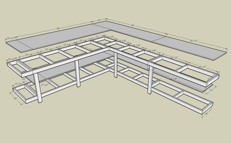 Workbench Plans Workbench plans The best source for woodworking workbench  plans Tough workbench that ll last for decades Workshop There aren t a lot  of. Corner workbench with measurements  plywood and 2x4  basement