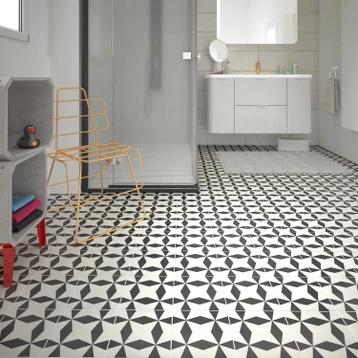 Carrelage Sol Et Mur Noir Blanc Aspect Carreau De Ciment L 20 X L