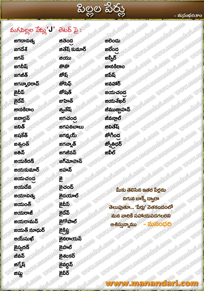 tags telugu baby boys names starting with j letter Hindu