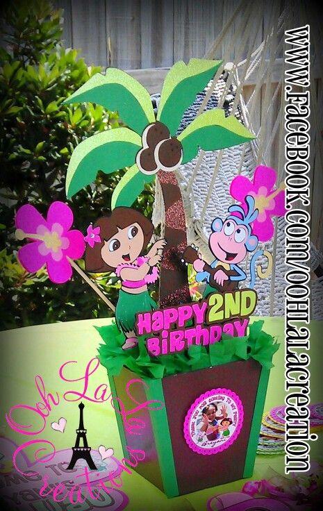 Hawaiian Dora Centerpiece Dora theme Party Decor Pinterest