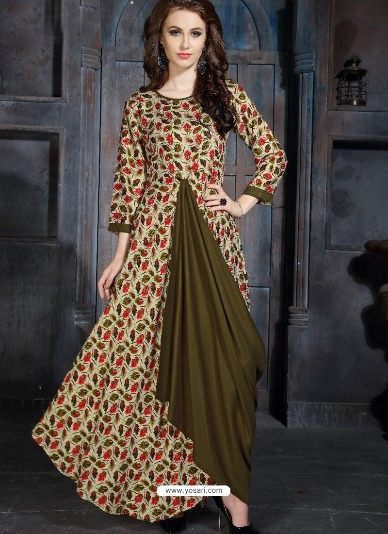 419ad44d0ef Multi Colour Heavy Rayon Printed Readymade Kurti in 2019