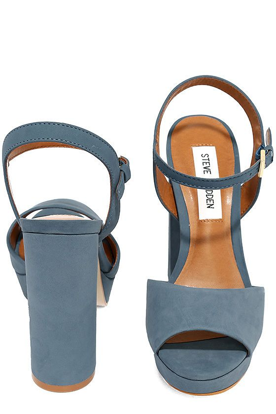 5ef9b45571c9 Let the Steve Madden Kierra Light Blue Nubuck Leather Platform Heels take  your look up a level ... literally! Soft nubuck leather upper forms a wide  toe ...