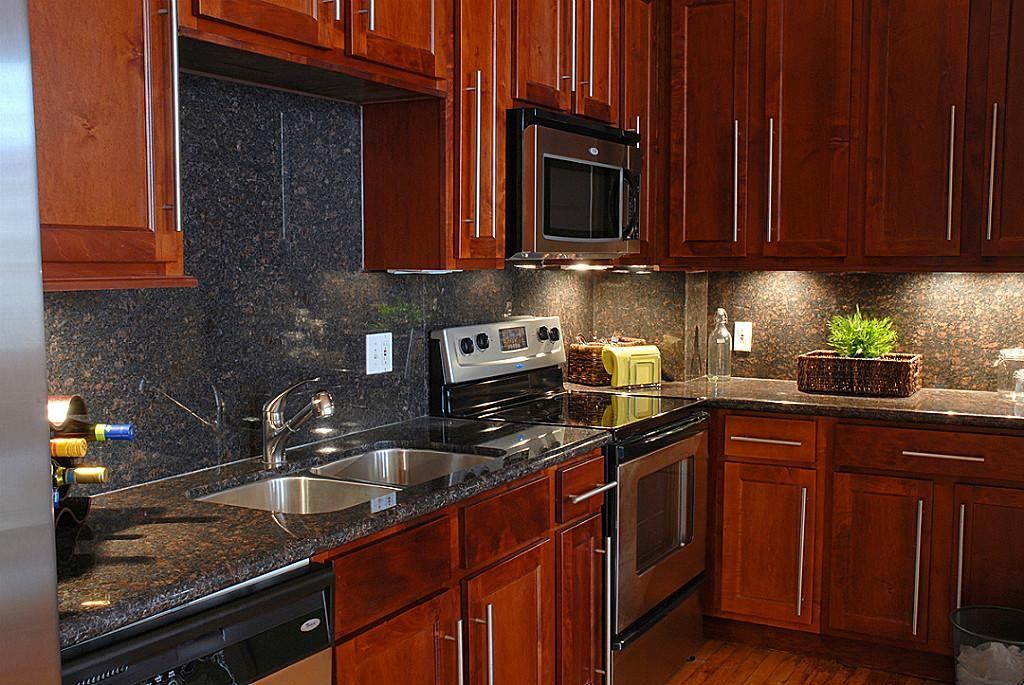 Dark Cherry Wood Kitchen Cabinets Main St Houston Home ...