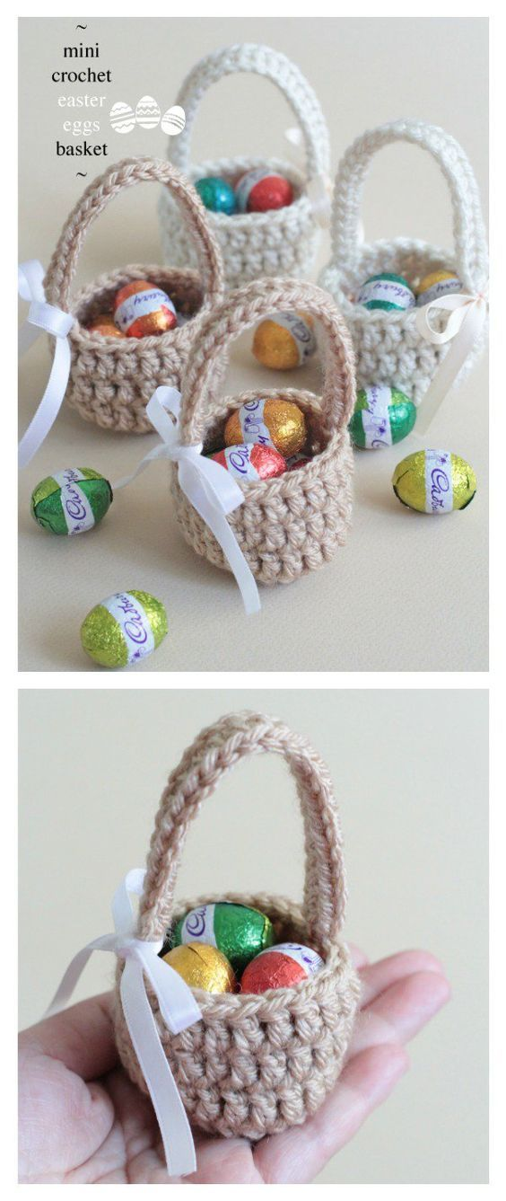 Crochet Easter Basket Free Patterns | Cestas, Huevo y Ganchillo