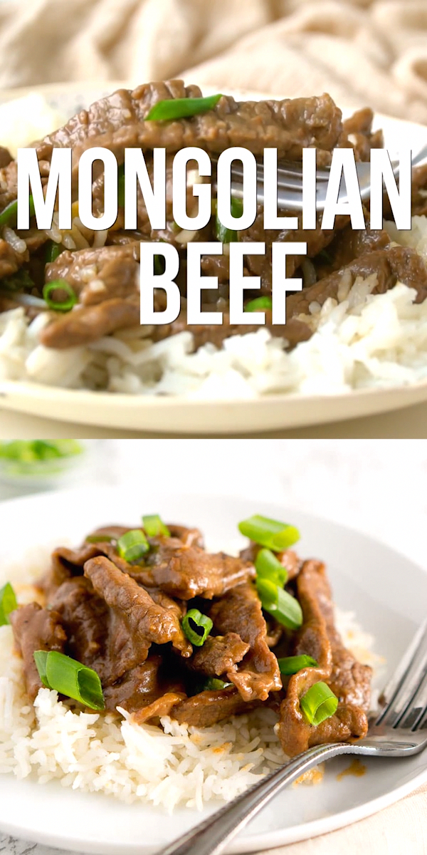 Authentic Mongolian Beef recipe – thin strips of tender beef are lightly coated in cornstarch and cooked in a sweet and tangy soy sauce, garnished with scallions. #onepan #onepot #30minutes #healthy #glutenfree #easydinner #beef #recipe #casserolerecipe #healthydinnerrecipesvideos
