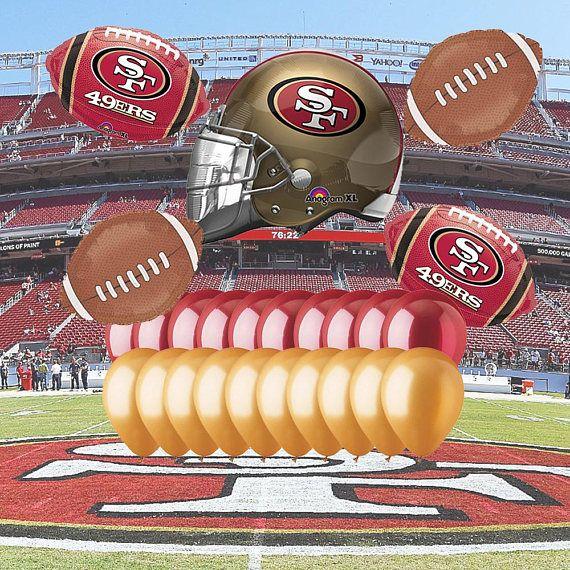 San Francisco 49ers 25 Piece Balloon Set Helmet Football Balloons 12th Birthday