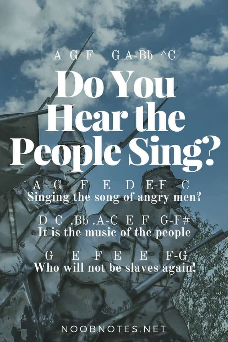 music notes for newbies: Do You Hear The People Sing? – Les Miserables. Play popular songs and traditional music with note letters for easy fun beginner instrument practice - great for flute, piccolo, recorder, piano and more