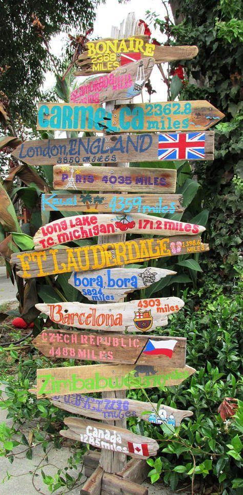 Ziel Driftwood Reiseschild mit Zielen und Kilometerstand. Der Preis ist pro Zeichen. Hochzeitsdekor, Geschenk, Reisen. INKLUSIVE POST!