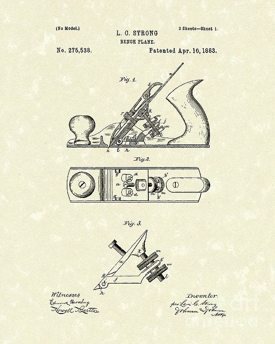 Bench Plane 1883 Patent Art #patentart Tools And Equipment - best of golf blueprint art