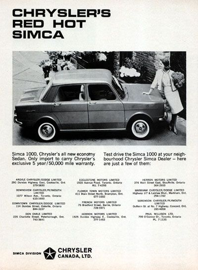 1965 Chrysler Simca 1000 Sedan Original Vintage Adver S All New Economy Imported By Of Canada