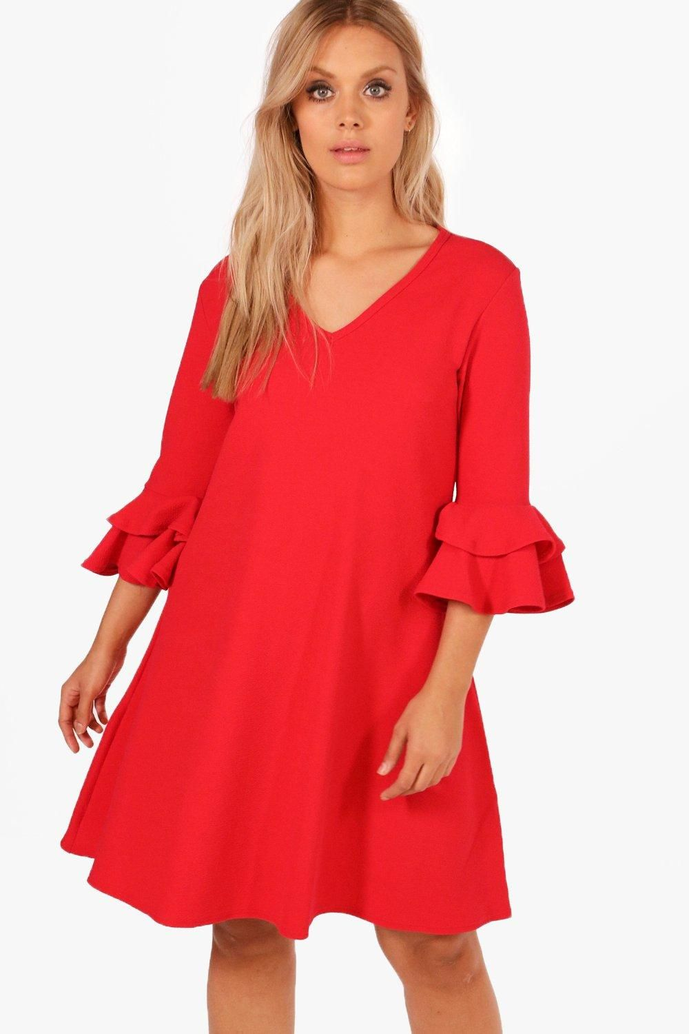 dec5b2909c89 Click here to find out about the Plus Grace Crepe Ruffle Sleeve Shift Dress  from Boohoo, part of our latest Dresses collection ready to shop online  today!