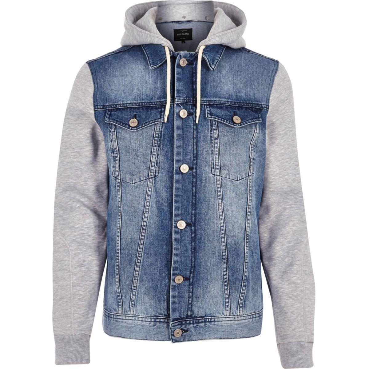 Blue Jersey Hoodie Denim Jacket Blue Jacket Men Stylish Jackets Mens Jackets [ 1200 x 1200 Pixel ]