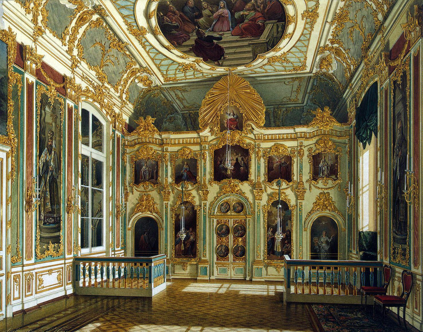 """""""Winter Palace in St. Petersburg - the Drawing Room in Rococo II Style with Cupids"""" ~ by Edward P. Gau (1807-87)"""