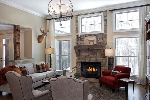 Can light color fabrics work well with a dark stone fireplace transforming rooms house for Where can you work as an interior designer