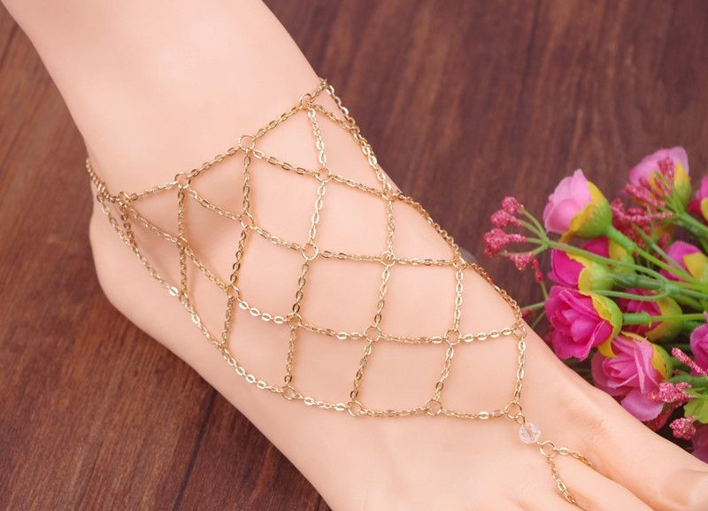 Charm Summer Jewelry Gold Foot Ankle Chain Bracelet Fishing Net