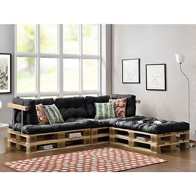 En Casa Euro Paletten Sofa Set Grau Indoor Kissen Polster