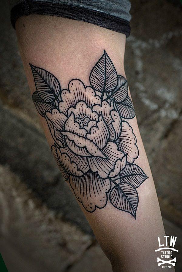100 Peony Tattoo Designs For Men: Sleeve Tattoos, Peonies Tattoo