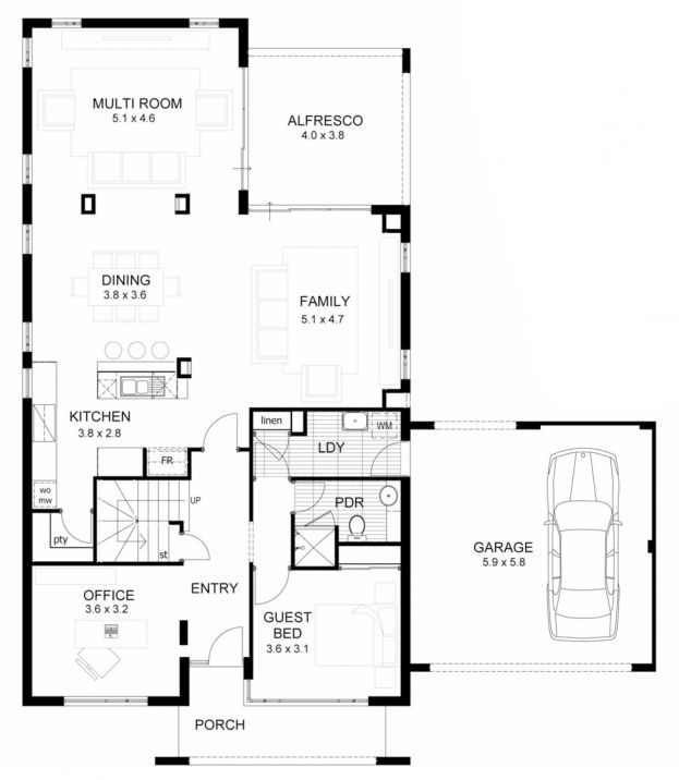 veloce Two storey home designs and plans narrow lot home