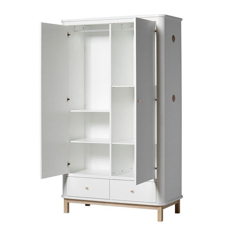 Oliver Furniture Kleiderschrank 2 Turig Wood Weiss Eiche Schrank