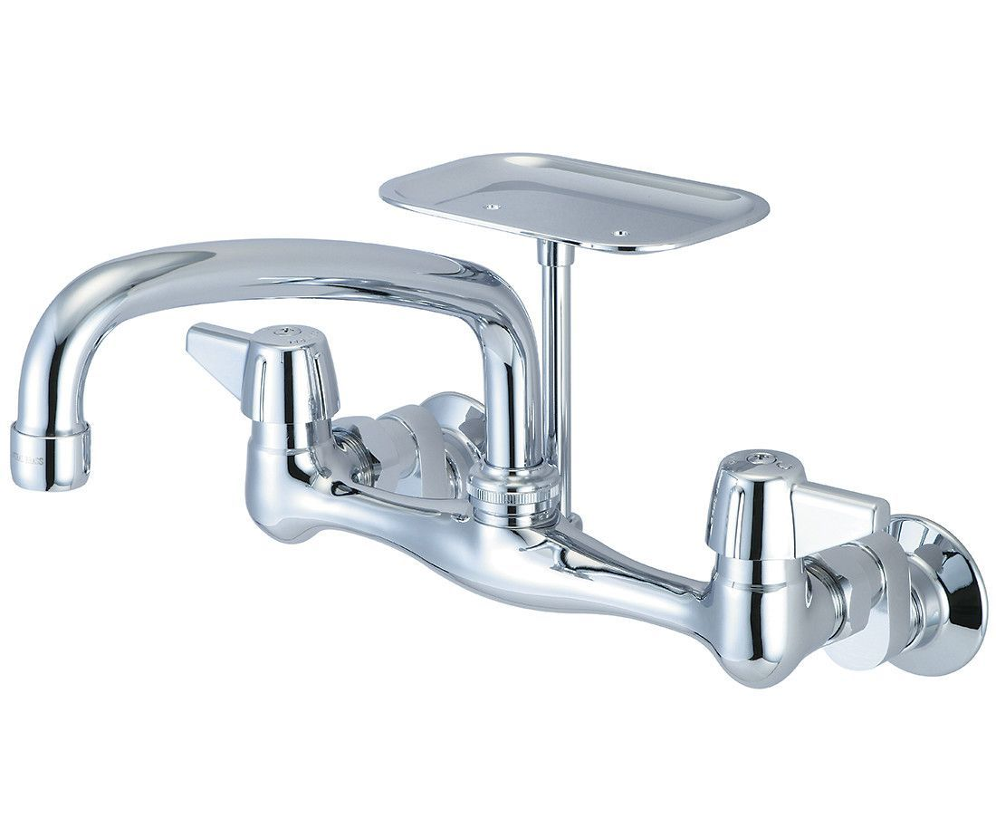 Double Handle Wall Mounted Kitchen Faucet with Soap Dish ...