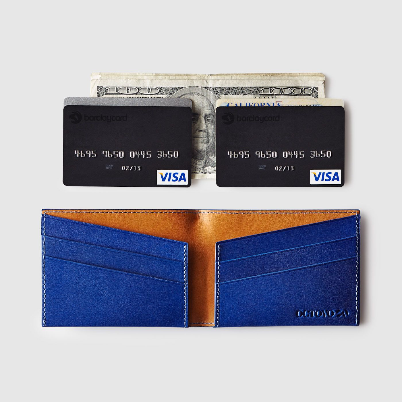 Blue W01-005-BLU Octovo Horizontal Slice Leather Wallet