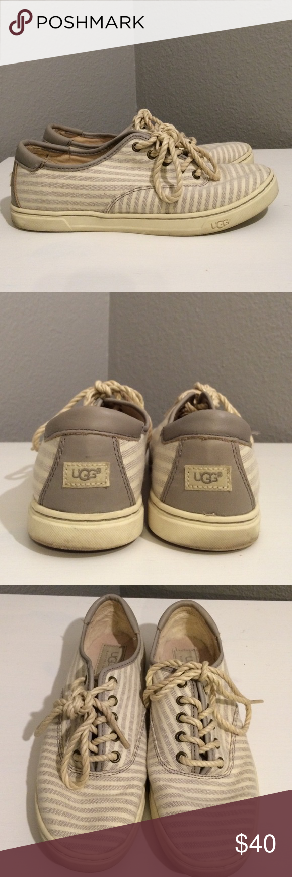 UGG sneakers UGG cream and gray sneakers with rope-style laces. Barely worn and in good condition! UGG Shoes Sneakers