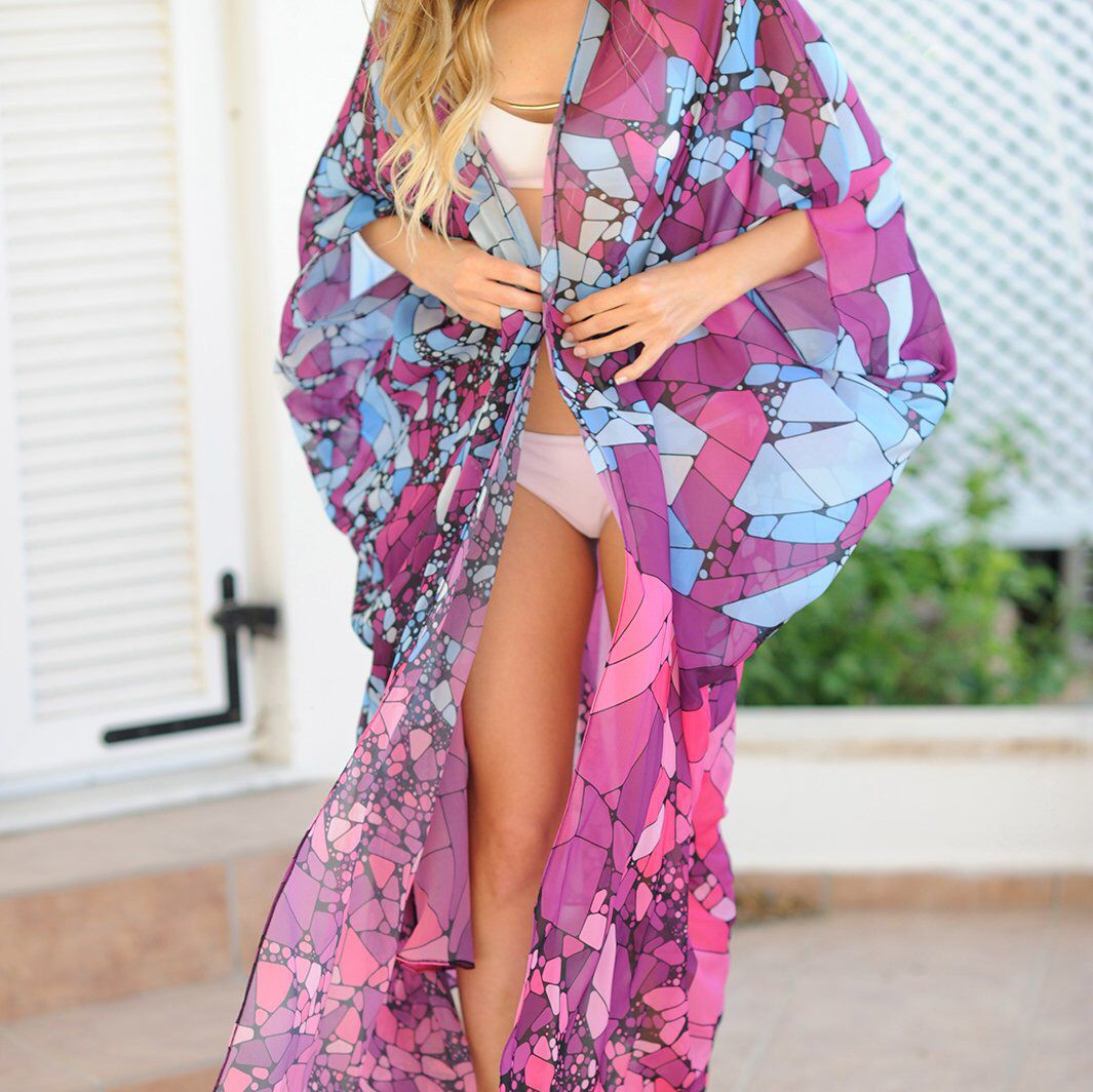 Kimono Kaftan Beach Cover up Festival Kimono, Festival Clothing, Kimono Kaftan, Festival Boho Kimono Beach Cover Up, Burning Man Kimono is part of Clothes Boho Kimonos - Gifts For Her Kimono Kaftan Beach Cover Up, Festival Clothing, Bohemian Clothing, Boho Kimono Robe, Festival Kimono, Festival Clothing, Kimono Kaftan Dress, Boho Kimono, Boho Beach Kaftan, Roberto Cavalli, Festival Clothing Festival Robe Gifts for Her Tribal Beach Kimono  Cover up Bohemian Clothing Coachella Clothing, Festival Clothing, Kaftan Dress, Boho Dress, Beach Kimono, Beach Cover Up, Bohemian Clothing, Gypsy Dress, Boho Dress, Sexy Dress, Maxi Dress, Long Kaftan, Beachwear, Resort Wear, Boho Chic Made of soft silky chiffon and digitally printed with our statement algorithmic art  This is an unconventional, non continuous print design made purely by coding! Look closer you will never see the same shape twice ! Fits all body types thanks to its wide cut and can be worn open or closed with its elegant sash tie  >> High Quality Silky Chiffon  >> Super Light And Breezy  >> Unique Algorithmic Print Design >> Clean Finishing All Around >> Sewn By Hand in Istanbul >> One Size  Fits US 4 to 14 ~ EU 34 to 44 >> Length is 51 inches (130cm) Our fun and flattering designs will soon turn into your favorite vacation items  Follow us @khoiko designs Gifts for Her   We recommend you to wash your kimono before wearing  It will have a softer hand and a much better drape after the first wash                                             Returns or Exchanges                           We accept returns of unwashed, unaltered, stainless products with hang tags in the original box, or package of choice within 21 days  Boho Beach Kimono Robe   Beach Cover Up    Festival Clothing    Festival Kimono, Festival Clothing Beach Cover Up    Bohemian Kimono   Bohemian Clothing  Gifts for Her
