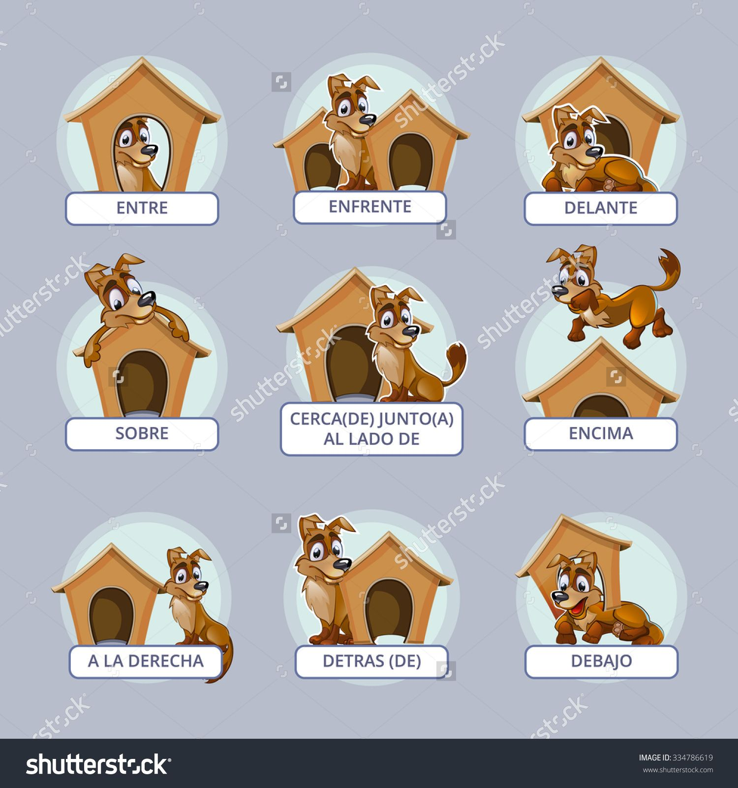 Cartoon Dog Different Poses Spanish Prepositions Place