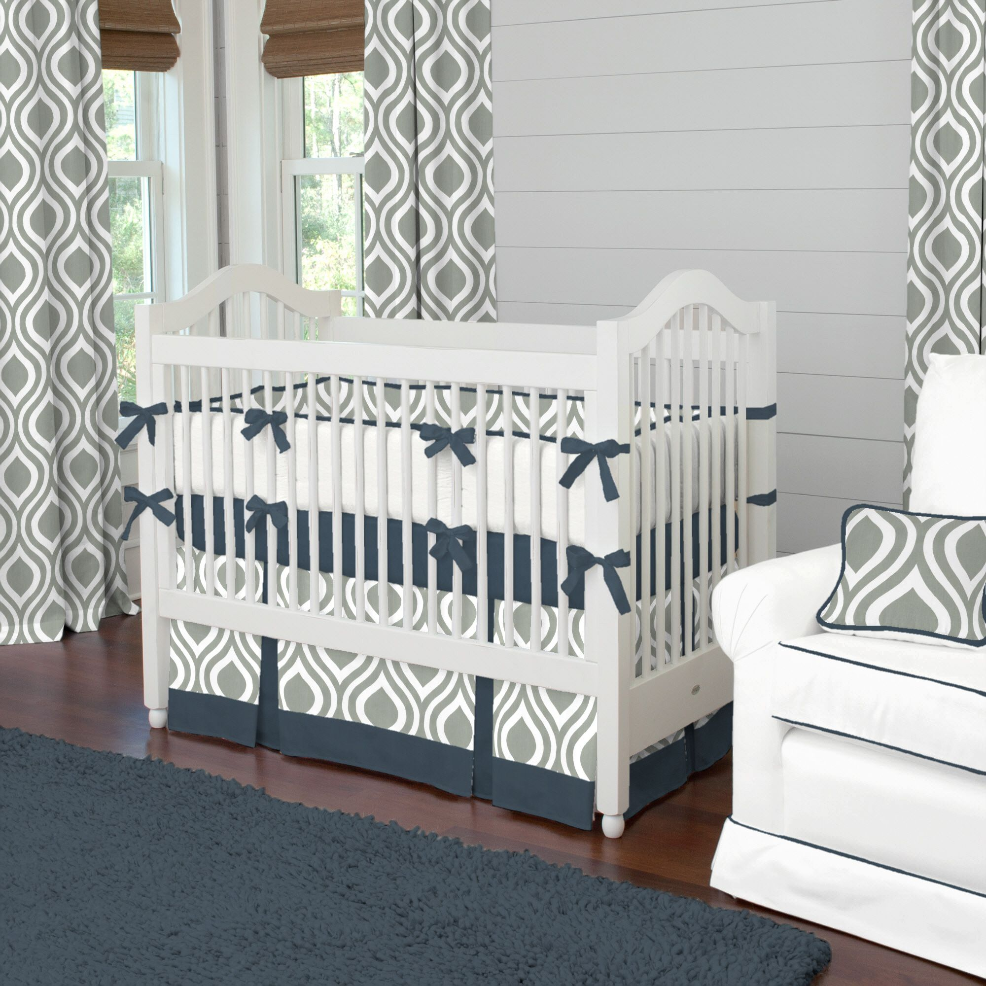Gray and Navy Raindrops Baby Crib Bedding carouseldesigns