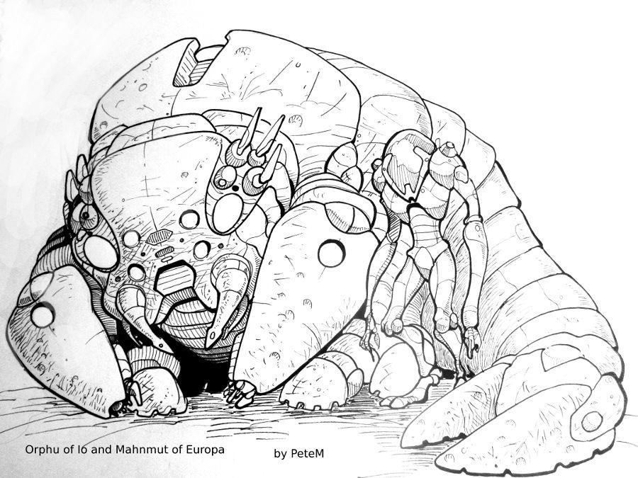 Orphu of Io and Mahnmut of Europa by theEvilTwin